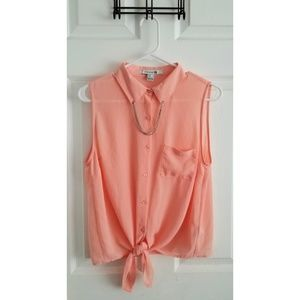Forever 21 Tie-Front Chiffon Dress Shirt